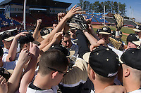 The Wake Forest Demon Deacons huddle up prior to taking on the Virginia Cavaliers at Wake Forest Baseball Park March 8, 2009 in Winston-Salem, NC. (Photo by Brian Westerholt / Four Seam Images)