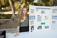 Teresa Pangallozzi '18 was an intern at L.A. Municipal Art Gallery. Career Services hosts the Summer Experience Expo, where Occidental College student interns from the InternLA program and INT Internship course shared information about the organizations they worked for over the summer. Sept. 7, 2017 at Thorne Hall patio. Employers were also in attendance.<br /> (Photo by Marc Campos, Occidental College Photographer)