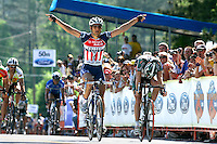 Juan Jos&eacute; Haedo (center), of Toyota-United Pro, sprints for the Stage 6 win during the Ford Tour de Georgia. Floyd Landis of Phonak Hearing Systems won the entire Tour de Georgia.<br />