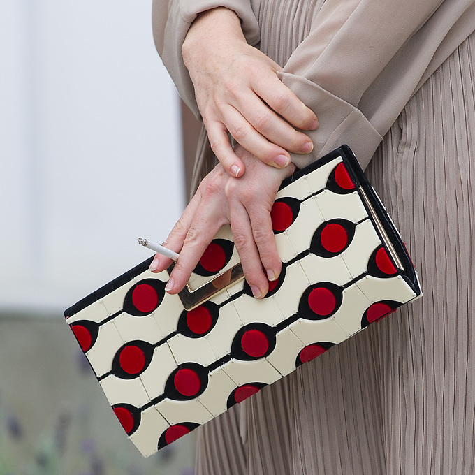 """Handbag of french actress Léa Druker on the twelth day of Festival Paris Cinema with the closing ceremony, announcement of prizes, and """"Je me suis fait tout petit"""" by Cécilia Rouaud, presented by and in the presence of Cécilia Rouaud, Charlotte Rampling, Vanessa Paradis, Léa Drucker and Denis Ménochet, at The Limelight and MK2 Bibliothèque, Paris. Monday 9th July 2012."""