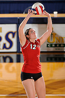 20 November 2008:  Arkansas State setter Laura Bennett (12) sets up a shot during the Middle Tennessee 3-0 victory over Arkansas State in the first round of the Sun Belt Conference Championship tournament at FIU Stadium in Miami, Florida.