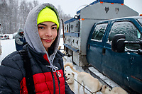 Mikah Whitehead portrait at the start of the 2018 Junior Iditarod Sled Dog Race on Knik Lake in Southcentral, Alaska.  Saturday February 24, 2018<br /> <br /> Photo by Jeff Schultz/SchultzPhoto.com  (C) 2018  ALL RIGHTS RESERVED