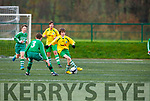 Robert Brook  Killarney Celtic takes on the Shelbourne defence  in the FAI cup in Celtic Park on Saturday