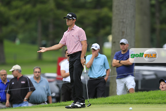 Billy Horschel (USA) putts on the 14th green during Friday's Round 1 of the 2013 Bridgestone Invitational WGC tournament held at the Firestone Country Club, Akron, Ohio. 2nd August 2013.<br /> Picture: Eoin Clarke www.golffile.ie