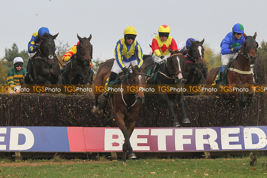 No Loose Change ridden by R Walsh (yellow cap) in jumping action during the Kettle Chips Handicap Chase - Horse Racing at Fakenham Racecourse, Norfolk - 26/10/12 - MANDATORY CREDIT: Gavin Ellis/TGSPHOTO - Self billing applies where appropriate - 0845 094 6026 - contact@tgsphoto.co.uk - NO UNPAID USE