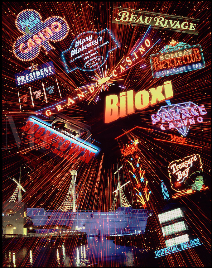 "Biloxi, Mississippi.A montage of lights of casinos and resort hotels. This image was created ""pre Katrina"""