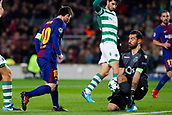5th December 2017, Camp Nou, Barcelona, Spain; UEFA Champions League football, FC Barcelona versus Sporting Lisbon; Leo Messi of FC Barcelona shoots and Rui Patricio of Sporting Lisbon makes the save