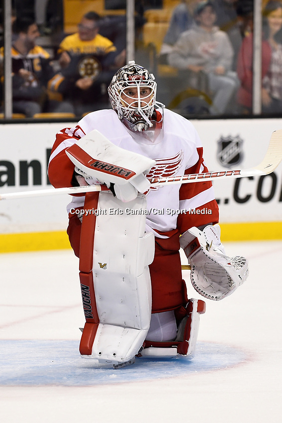 Monday, September 28, 2015, Boston, MA - Detroit Red Wings goalie Jimmy Howard (35) takes a break during the warm up period at the NHL game between the Detroit Red Wings and the Boston Bruins held at TD Garden, in Boston, Massachusetts. Detroit defeats Boston 3-1 in regulation time. Eric Canha/CSM