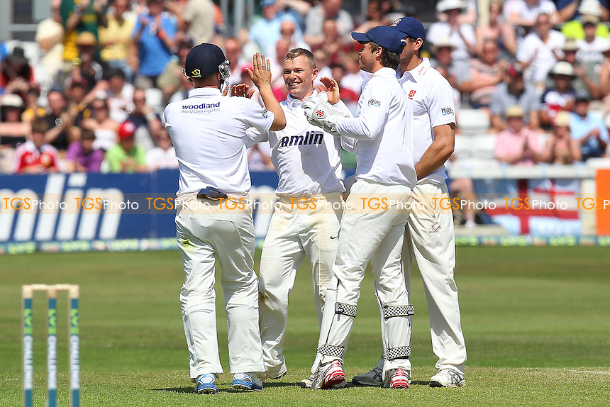 Tom Craddock of Essex (C) celebrates the wicket of Kevin Pietersen - Essex CCC vs England - LV Challenge Match at the Essex County Ground, Chelmsford - 30/06/13 - MANDATORY CREDIT: Gavin Ellis/TGSPHOTO - Self billing applies where appropriate - 0845 094 6026 - contact@tgsphoto.co.uk - NO UNPAID USE