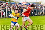 Brosna V St. Senan's:  St. Senan's Paudie Quill wins  the ball from Brosna's Maurice O'Keeffe in the Bernard O'Callaghan North Kerry Senior Championship Final sponsored by McMunn's Bar & Restaurant, Ballybunion in O'Rahilly Park, Ballylongford on Sunday last.