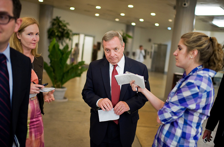 UNITED STATES - JUNE 28:  Senate Majority Whip Richard Durbin, D-Ill., talks with reporters in the senate subway before the democratic senate policy the Capitol.  (Photo By Tom Williams/Roll Call)