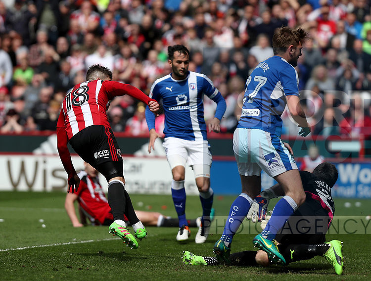 Kieron Freeman of Sheffield United scoring his teams first goal of the game during the English League One match at Bramall Lane Stadium, Sheffield. Picture date: April 30th, 2017. Pic credit should read: Jamie Tyerman/Sportimage