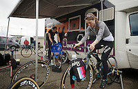 Gaby Durrin-Day (GBR) &amp; Helen Wyman (GBR) warming up (to a tune)<br /> <br /> UCI Worldcup Heusden-Zolder Limburg 2013