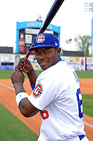 Chattanooga Lookouts outfielder Yasiel Puig #66 poses for a photo after a game against the Birmingham Barons on April 17, 2013 at AT&T Field in Chattanooga, Tennessee.  Chattanooga defeated Birmingham 5-4.  (Mike Janes/Four Seam Images)