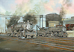 "Two Baltimore and Ohio steam engines readying for the day's work hauling freight from the railroad yard at Willard, Ohio. Oil on canvas, 20"" x 28""."