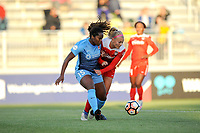 Boyds, MD - Saturday May 6, 2017: Kayla Mills, Line Sigvardsen-Jensen during a regular season National Women's Soccer League (NWSL) match between the Washington Spirit and Sky Blue FC at Maureen Hendricks Field, Maryland SoccerPlex.
