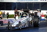 Nov 11, 2010; Pomona, CA, USA; NHRA top alcohol dragster driver Darren Nicholson during qualifying for the Auto Club Finals at Auto Club Raceway at Pomona. Mandatory Credit: Mark J. Rebilas-