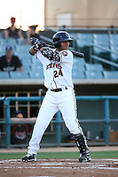 Yulieski Gurriel (24) of the Lancaster JetHawks bats against the Lake Elsinore Storm at The Hanger on August 2, 2016 in Lancaster, California. Lake Elsinore defeated Lancaster, 10-9. (Larry Goren/Four Seam Images)