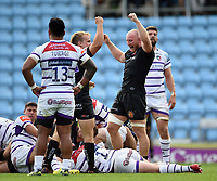 Stu Townsend and Matt Kvesic of Exeter Chiefs celebrate a try from team-mate Luke Cowan-Dickie. Gallagher Premiership match, between Exeter Chiefs and Leicester Tigers on September 1, 2018 at Sandy Park in Exeter, England. Photo by: Patrick Khachfe / JMP