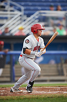 Auburn Doubledays first baseman Jake Scudder (34) hits a single in the top of the second inning during a game against the Batavia Muckdogs on July 6, 2017 at Dwyer Stadium in Batavia, New York.  Auburn defeated Batavia 4-3.  (Mike Janes/Four Seam Images)