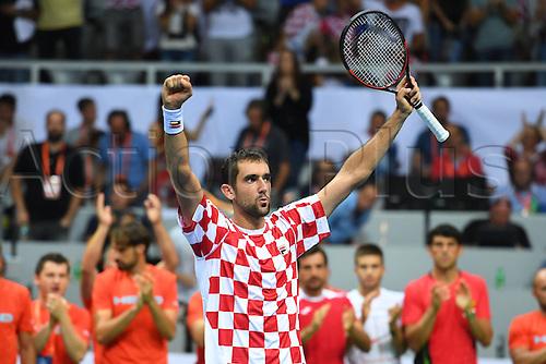 16.09.2016. Zadar, Croatia. Davis Cup tennis. Croatia versus France.  Marin Cilic (Cro) celebrates his win against Lucas Pouille (Fra)