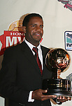 15 November 2007: DC United's Luciano Emilio (BRA) poses with the MLS MVP Award. The 2007 MLS Honda Most Valuable Player was announced at the ESPN Zone restaurant in Washington, DC three days before MLS Cup 2007, Major League Soccer's championship game.