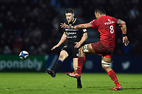 Rhys Priestland of Bath Rugby puts boot to ball. Heineken Champions Cup match, between Stade Toulousain and Bath Rugby on January 20, 2019 at the Stade Ernest Wallon in Toulouse, France. Photo by: Patrick Khachfe / Onside Images