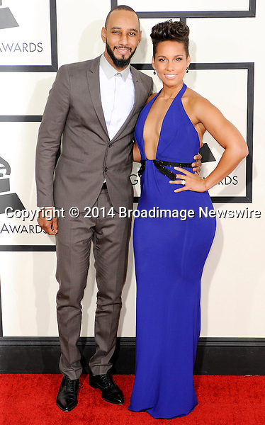 Pictured: Swizz Beatz, Alicia Keys<br /> Mandatory Credit &copy; Adhemar Sburlati/Broadimage<br /> The Grammy Awards  2014 - Arrivals<br /> <br /> 1/26/14, Los Angeles, California, United States of America<br /> <br /> Broadimage Newswire<br /> Los Angeles 1+  (310) 301-1027<br /> New York      1+  (646) 827-9134<br /> sales@broadimage.com<br /> http://www.broadimage.com