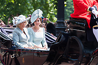 Camilla, Duchess of Cornwall, Catherine, Duchess of Cambridge<br /> Celebration marking The Queen's official birthday, Trooping The Colour, The Queen's official birthday, Buckingham Palace, London, England UK on June 09, 2018.<br /> CAP/JOR<br /> &copy;JOR/Capital Pictures