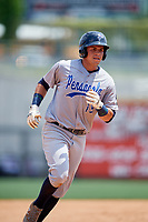 Pensacola Blue Wahoos shortstop Luis Gonzalez (19) runs the bases during a game against the Birmingham Barons on May 9, 2018 at Regions Field in Birmingham, Alabama.  Birmingham defeated Pensacola 16-3.  (Mike Janes/Four Seam Images)