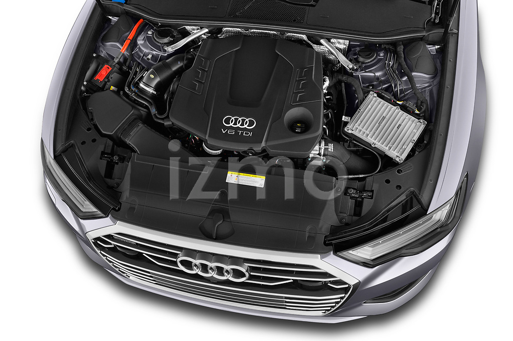 Car stock 2019 Audi A6 Design 4 Door Sedan engine high angle detail view