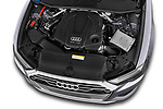 Car stock 2019 Audi A6 Design 4 Door Sedan engine high angle detail view