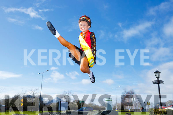 Caoimhe O'Halloran Kilcummin jumpimg for joy after finishing 3rd in the Oireactas All Ireland Championships in the INEC on Tuesday