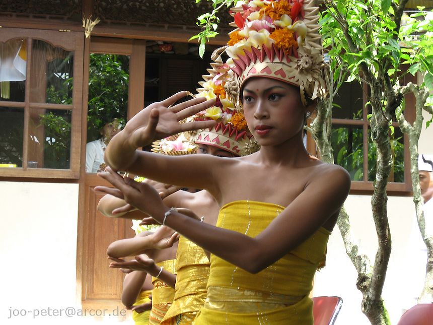 young balinese dancers performing  sacred dance pendet for purifying family house compound in larger, day-long ceremonies, North of Ubud,   Bali, archipelago Indonesia, 2010