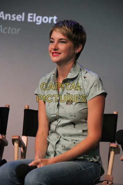 NEW YORK, NY - JUNE 1: Shailene Woodley at the Apple Store's Meet the Filmmakers: The Fault in Our Stars cast discussion at The Apple Store SoHo in New York City on June 1, 2014. <br /> CAP/MPI/RW<br /> &copy;RW/MPI/Capital Pictures