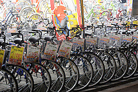 Bicycles being sold in Tokyo, Japan. Bicycles are widely used in Japan for everyday life by people of all age groups and social standings. Due to the high popularity of bicycles, there are dedicated bicycle parking areas near most railway stations and shopping centers. .