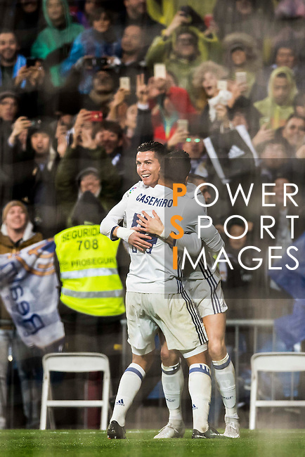 Cristiano Ronaldo of Real Madrid celebrates with teammates during their La Liga match between Real Madrid and Real Sociedad at the Santiago Bernabeu Stadium on 29 January 2017 in Madrid, Spain. Photo by Diego Gonzalez Souto / Power Sport Images