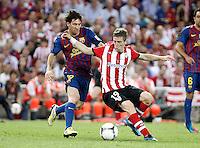 MADRID, ESPANHA, 25 DE MAIO 2012 - FINAL COPA DO REY - BARCELONA X ATHLETIC CLUB -  Lionel Messi (D) durante lance de partida contra o Athletic Club Bilbao na final da Copa do Rey no Estadio San Mames em Madrid capital da Espanha, ontem dia 25. (FOTO: ALVARO HERNANDEZ / ALFAQUI / BRAZIL PHOTO PRESS).