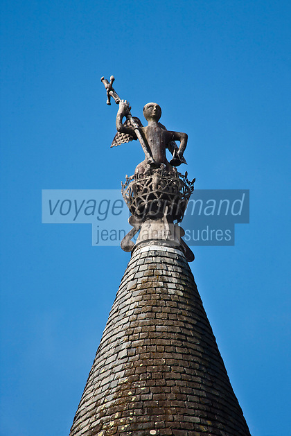 Europe/France/Aquitaine/24/Dordogne/Jumilhac-le-Grand: Château de Jumilhac -  Les faîtières allégoriques aux  motifs en plomb repoussés témoignent de la demeure d'un alchimiste