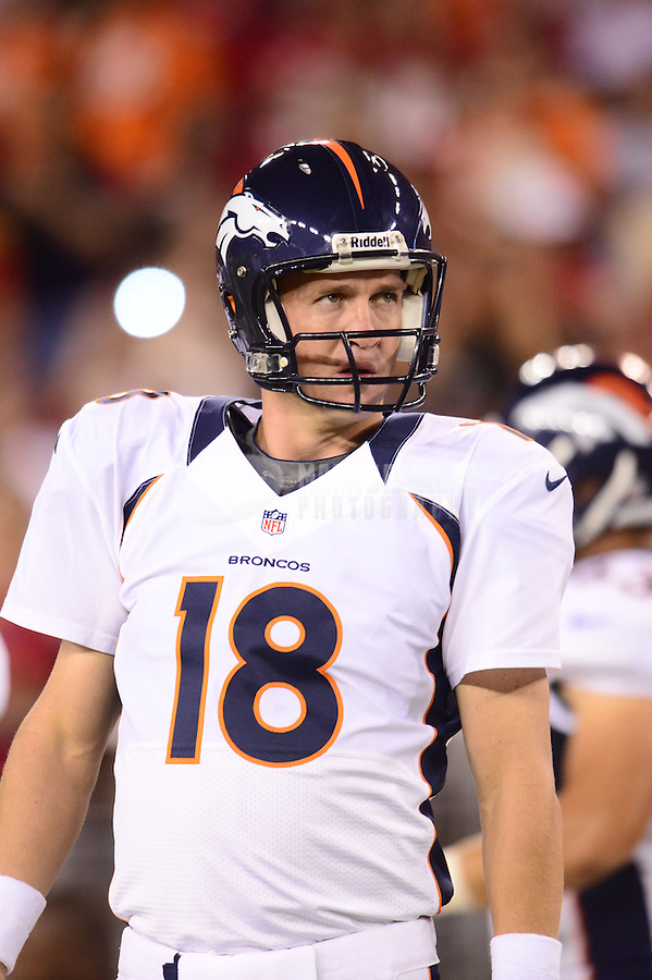 Aug. 30, 2012; Glendale, AZ, USA; Denver Broncos quarterback (18) Peyton Manning against the Arizona Cardinals during a preseason game at University of Phoenix Stadium. Mandatory Credit: Mark J. Rebilas-