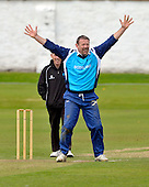 Cricket - Greenock XI v Cricket Scotland Presidents XI to celebrate Greenock CC's 150th Anniversary - at Glenpark - current and former Scotland International players played in the game including former Ranger goalkeeper Andy Goram (here celebrating a wicket in front of Umpire Mac Wylie) - 26.8.12 - 07702 319 738 - clanmacleod@btinternet.com - www.donald-macleod.com