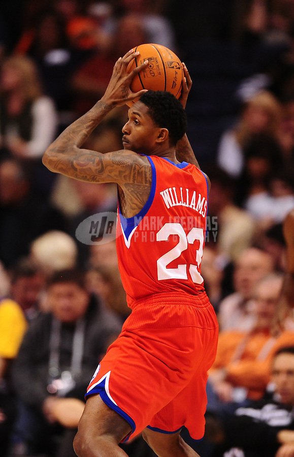 Dec. 28, 2011; Phoenix, AZ, USA; Philadelphia 76ers guard Louis Williams during game against the Phoenix Suns at the US Airways Center. The 76ers defeated the Suns 103-83. Mandatory Credit: Mark J. Rebilas-USA TODAY Sports