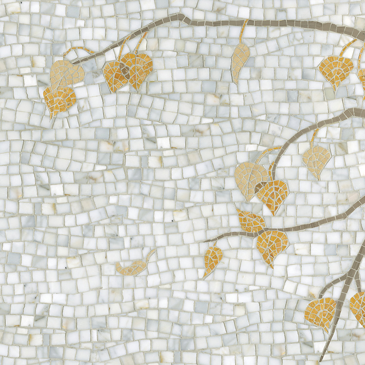 Aspen, a hand-cut stone mosaic, shown in polished Calacatta Tia, Driftwood, Travertine Noce, Persian Gold and Sylvia Gold.