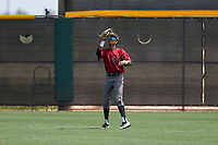 Arizona Diamondbacks center fielder Dominique Collie (1) prepares to catch a fly ball during an Extended Spring Training game against the Cleveland Indians at the Cleveland Indians Training Complex on May 27, 2018 in Goodyear, Arizona. (Zachary Lucy/Four Seam Images)