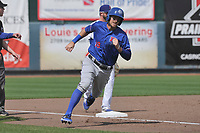 Round Rock Express designated hitter Will Middlebrooks (19) rounds third base during a game against the Iowa Cubs at Principal Park on April 16, 2017 in Des  Moines, Iowa.  The Cubs won 6-3.  (Dennis Hubbard/Four Seam Images)