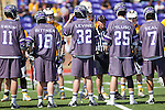 The High Point Panthers captains meet with the UMBC Retrievers captains prior to their match at Vert Track, Soccer & Lacrosse Stadium on March 15, 2014 in High Point, North Carolina.  The Panthers defeated the Retrievers 17-15.   (Brian Westerholt/Sports On Film)