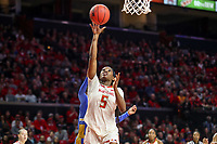 College Park, MD - March 25, 2019: Maryland Terrapins guard Kaila Charles (5) scores during game between UCLA and Maryland at  Xfinity Center in College Park, MD.  (Photo by Elliott Brown/Media Images International)