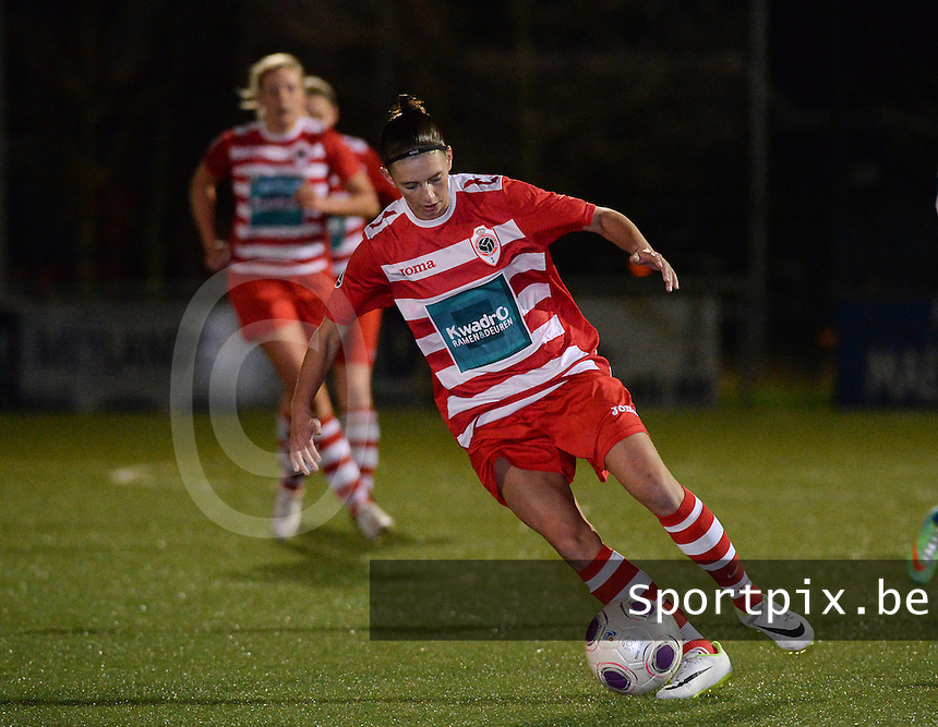 20140221 - OOSTAKKER , BELGIUM : Antwerp Lizzy Kolen pictured during the soccer match between the women teams of AA Gent Ladies  and RAFC Antwerp Ladies , on the 19th matchday of the BeNeleague competition Friday 21 February 2014 in Oostakker. PHOTO DAVID CATRY