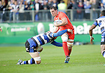 Imanol Harinordoqouy on the attack for Toulouse - European Rugby Champions Cup - Bath Rugby vs Toulouse - Recreation Ground Bath - Season 2014/15 - October 25th 2014 - <br /> Photo Malcolm Couzens/Sportimage
