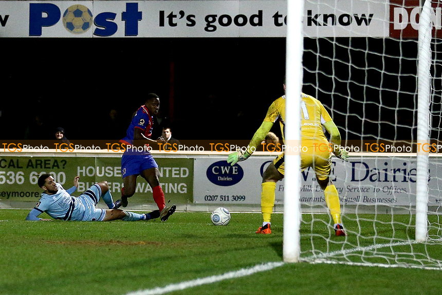 Liam Gordon of Dagenham scores the fourth goal for his team during Dagenham & Redbridge vs Boreham Wood, Vanarama National League Football at the Chigwell Construction Stadium on 5th January 2019